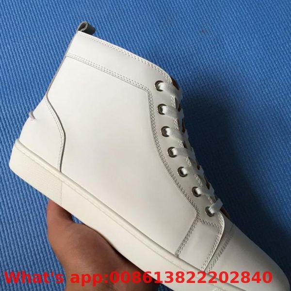 Zapatos con cordones Trend Patent Leather Bottoms rojos Corte alto para hombre Zapatos Remache blanco Zapato casual Modelos de pareja Mocasines planos