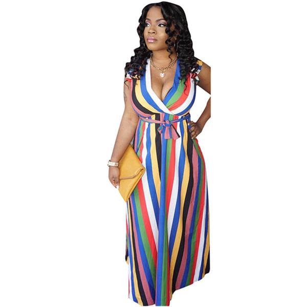 Novas mulheres se vestem verão listrado colorido impressão com decote em v cintos de cintura alta fit flare vestido maxi praia vestidos longos do vintage