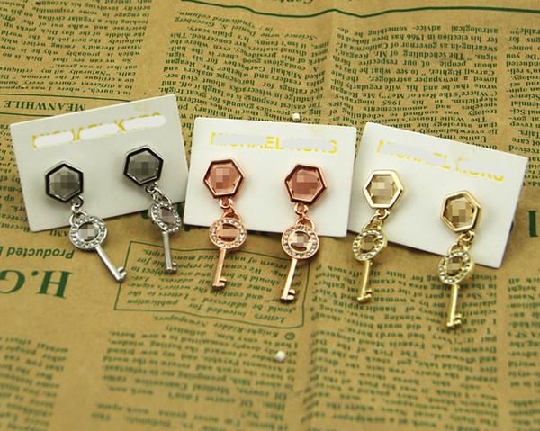 best selling 2020 New York Stylist Earrings Women Pave Key Drop Earring Hexagon Gold Silver Rose Gold Key Charm Dangles Best Christmas Gift for Girls