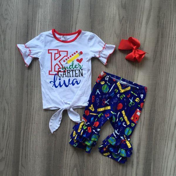 De volta à roupa da escola meninas roupas de lápis de roupas de jardim de infância diva Papelaria padrão de algodão capri acessórios do jogo do bebê