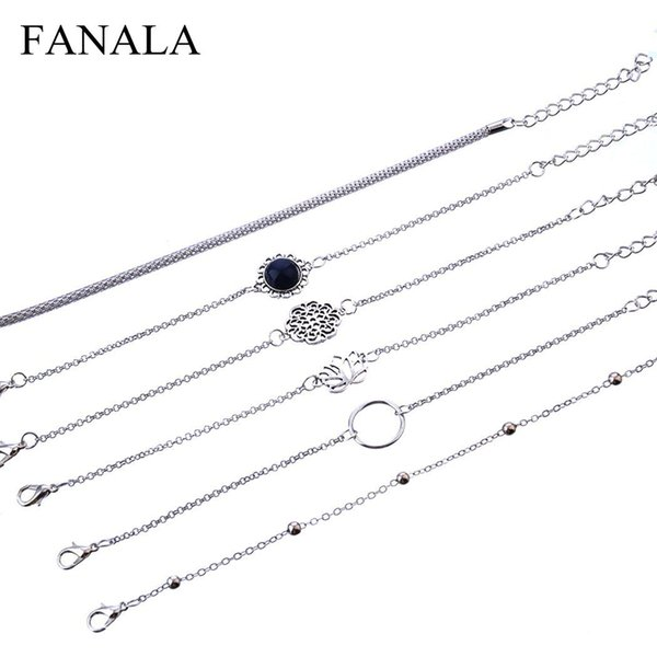 Women Fashion Hollow Out Flower Shape Pendant Bracelet Casual, Street, Party, Club, etc Set Gift 6 Pcs/Set