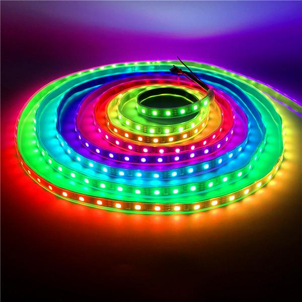 1-5M 30 LEDs / M 2811 Pixel Programmierbar Individuell adressierbare LED-Lichtleiste WS2811 5050 RGB 12V Schwarze LED-Bandlampe