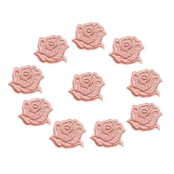 10PCS Embroidered Sew Iron On Patches Baby Pink Rose Flowers Badges 4CM For Jeans Tablecloth Dress Shirt DIY Appliques Craft Decoration