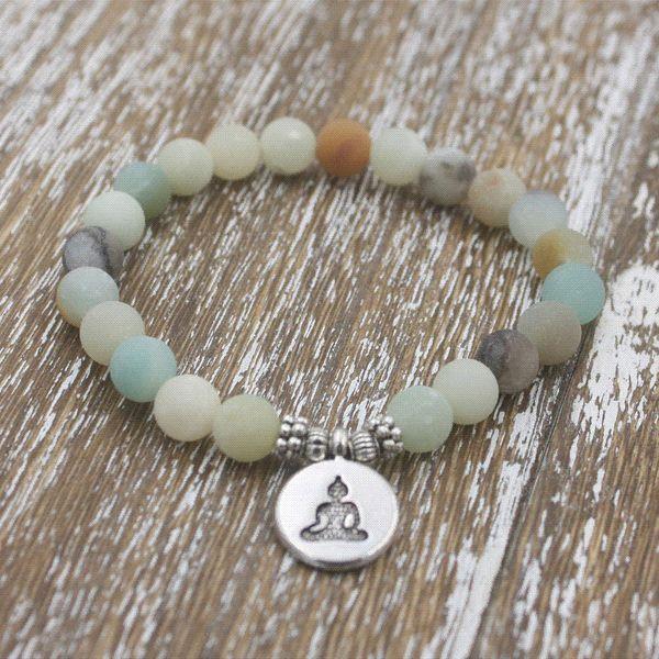 1pcs 8mm Matte Frosted Amazonite beads with Lotus OM Buddha Charm Yoga Bracelet wholesale Strand Bracelets