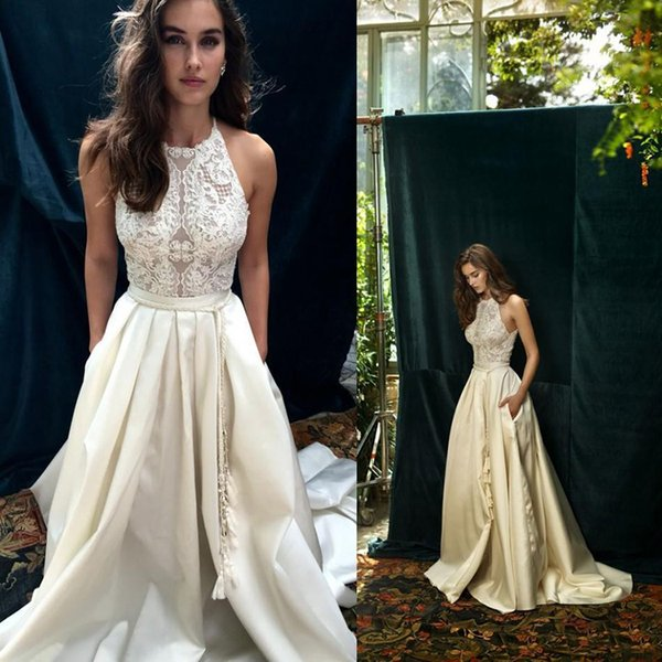 Vintage Ivory Boho Beach Wedding Dresses Custom Make New Design A-line Country Bohemian Cheap Wedding Gowns Lihi Hod Bridal Gowns
