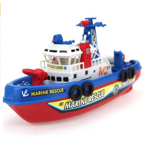 Electronic Boat U.S Fire Boat Auto Spray Water Seaport Work Fire Fighting Ship with led Model Electronic Toys For Children