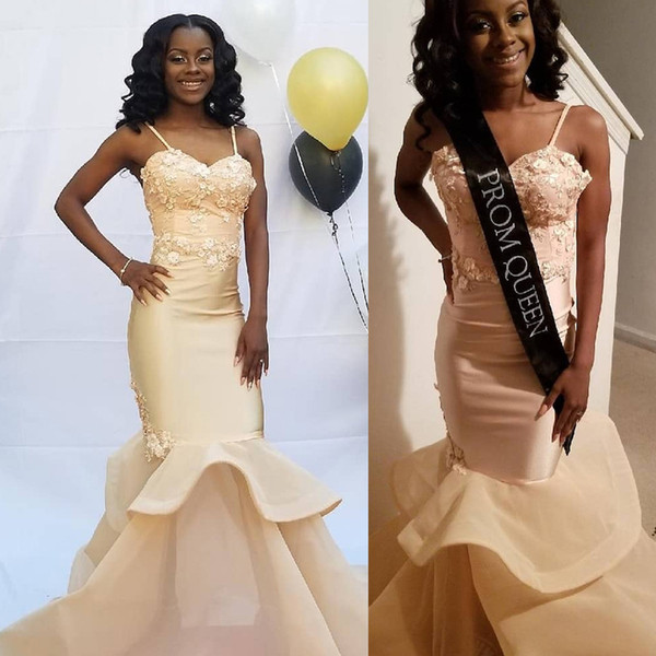 Mermaid Prom Dresses Long 2019 Sexy Black Girls Spaghetti Straps Formal Evening Gowns Cocktail Party Ball Sweet 16 Dress DP0273