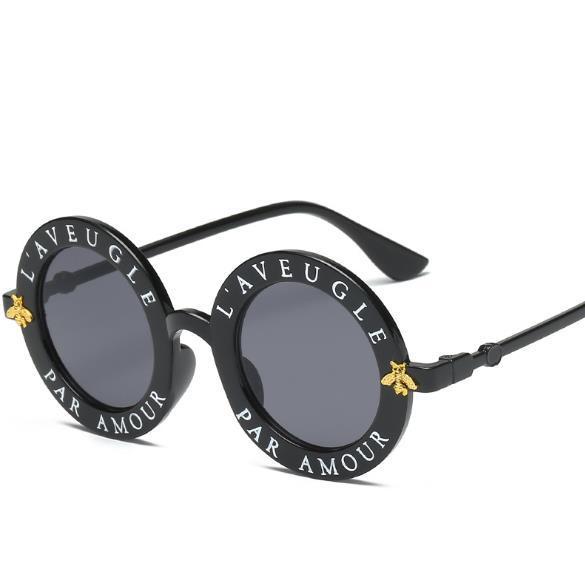 Round Sunglasses English Letters Little Bee Sun Glasses Men Women Brand Glasses Designer Fashion Male Female free shipping