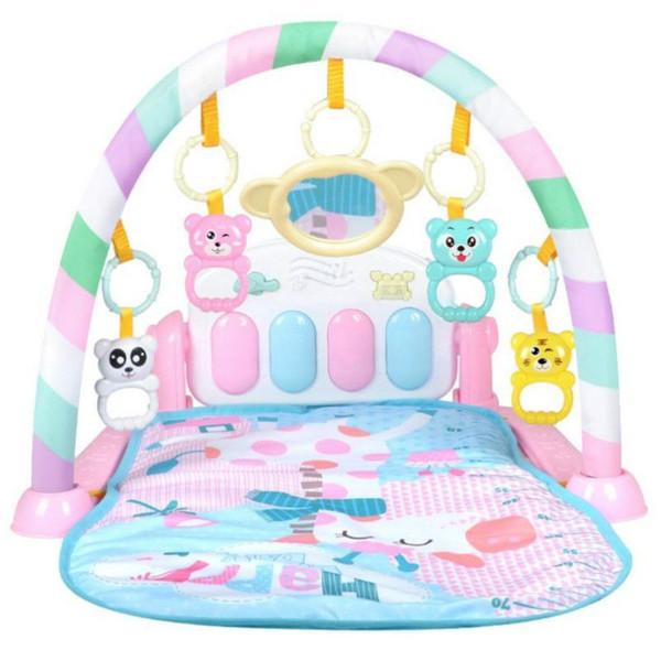 Yeni Pembe Bebek Piyano Klavye Ve Sevimli Hayvan Playmat Bebek Gym Tarama Etkinlik Mat Oyuncaklar ile Mat Çocuk Kilim Eğitim Bulmaca Halı oyna