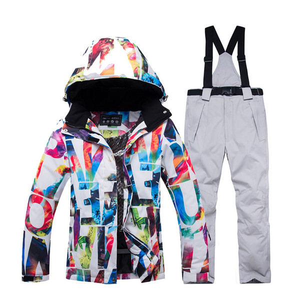 Women's Snow Suit set snowboarding Clothing waterproof windproof mountain outdoor Costume Skiing Wear jacket and Bib Snot pant