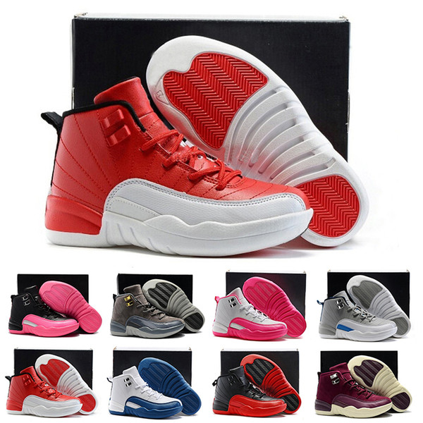 online retailer 25cbf b352e 2019 12 12s Kids Basketball Shoes Boys Girls Gym Red Hyper Violet Purple  Childrens Pink White Blue Dark Grey Toddlers Birthday Gift Size 28 35 From  ...