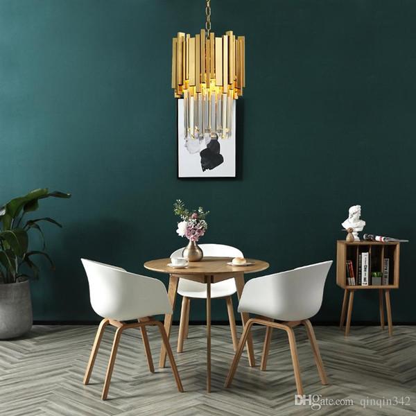 Gold Kronleuchter Beleuchtung Single Light Esszimmer LED Kristall Lampe Moderne Kücheninsel Anhänger Kette Cristal Lustre