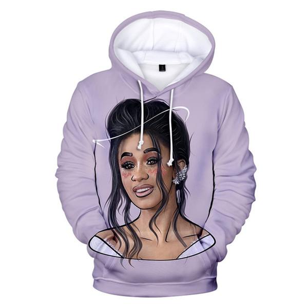 Female Rapper Cardi B Digital Print Hat Sweatshirts Colorful Long Sleeve Regular O Neck Womens Hoodies