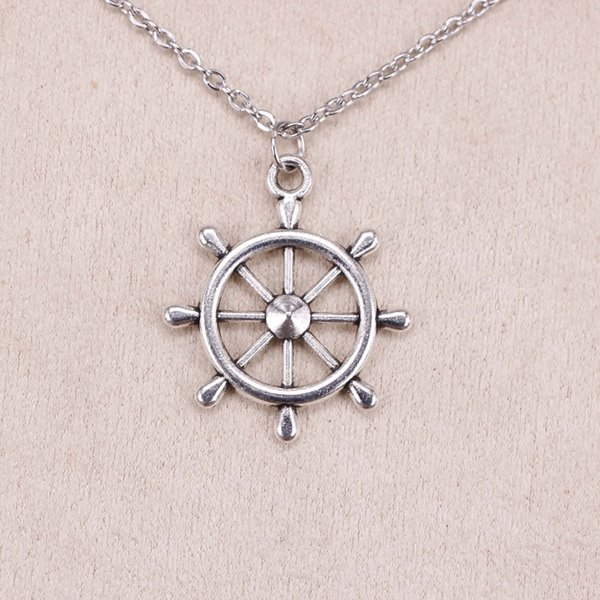 New Fashion Tibetan Silver Pendant ship's wheel helm rudder 28*24mm Choker Charm Short Long DIY Necklace Factory Price Handmade Jewelry