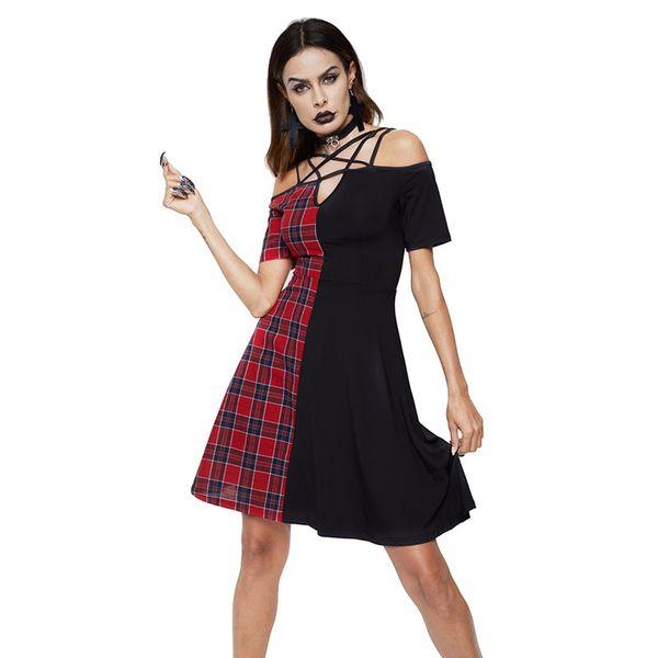 Vestido corto de verano Moda para mujer Rojo A cuadros Patchwork Una línea Pentagram gótico Hollow Out Street Club Chica fuera del hombro Vestidos Sexy
