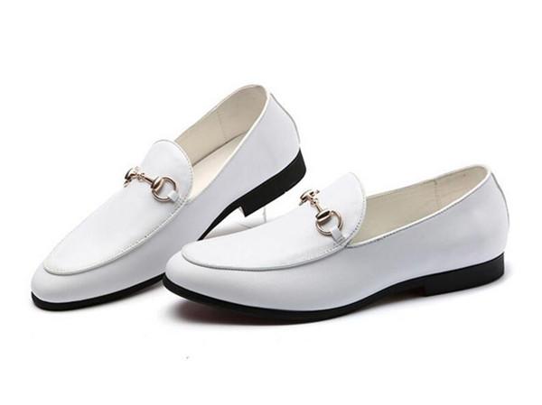 Sıcak Satış-Yeni erkekler Moda beyaz siyah sivri beyefendi ayakkabı Gelinlik Homecoming Balo Örgün ayakkabı zapatos hombre vestir cx255