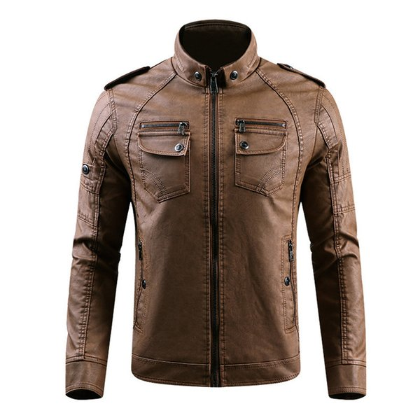 Top Winter Jacket Men Stand Collar Motorcycle Leather Jackets Plus Velvet Washed Retro Pu Leather Jacket Mens Thicken Warm Coats
