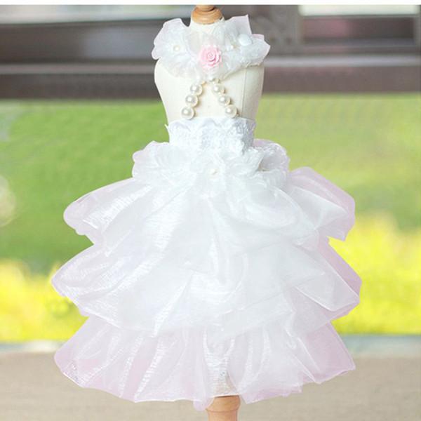 Pet supplies summer fashion wild elegant luxury wedding princess little fairy pet skirt white pink unisex