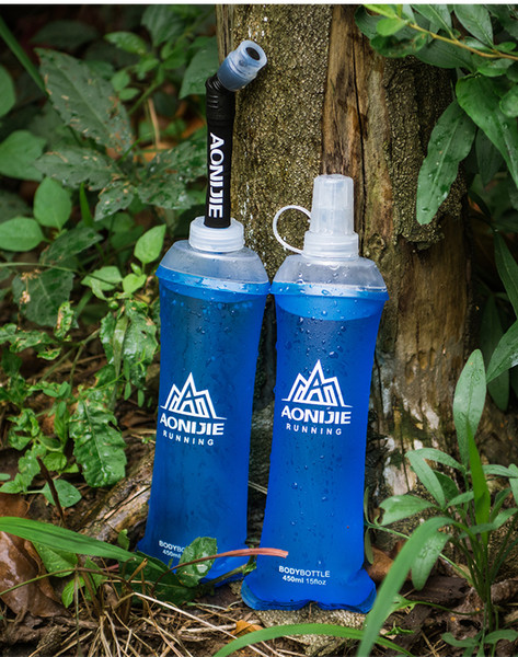 top popular Collapsible Soft Flask Folding Collapsible 450ml Water Bottle TPU BPA Free Running Hydration Pack Waist Bag Vest Marathon 2019