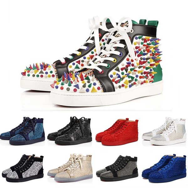 36-47 Luxury ACE Designer Red Bottoms Studded Spikes Flats Shoes Mens Womens Fashion High Cut Multicolor Party Lovers Casual Shoes c15