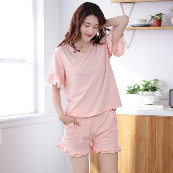Estate nuovo 100% cotone pigiama bella casual pantaloncini pigiama donne scollo av solido pijama pigiama sexy lingerie pigiameria