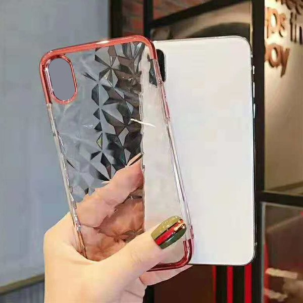 Electroplated Diamond Design Case Clear Soft TPU Back Cover Plating Frame for iPhone XS MAX X 7 Plus with OPP Bag