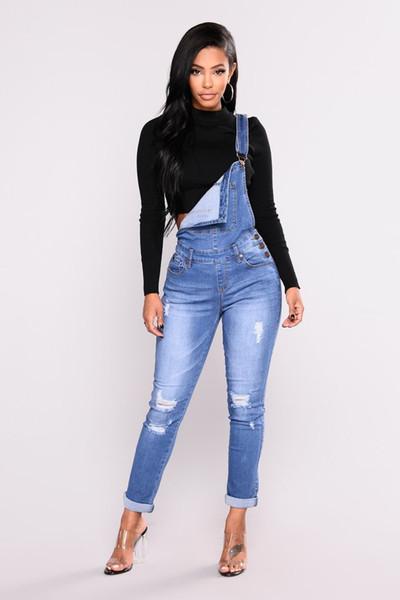 2018 femmes déchirées jean denim trou longue salopette mince jean dames tenue décontractée salopette taille haute crayon pantalon extensible plus la taille fermeture à glissière jeans