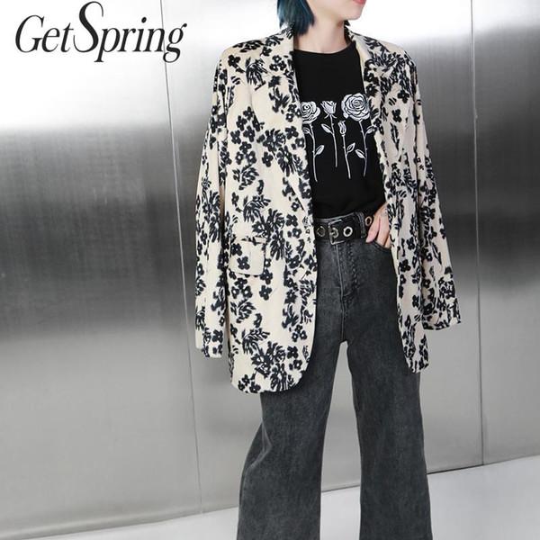 GetSpring Blazer Mulheres Flower Corduroy Mulher Longo Blazer Retro Loose Women Jackets Todos Jogo das senhoras Brasão Long Coat Outono Inverno