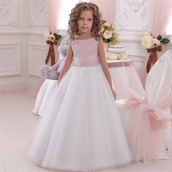 Flower Girl Dress Pink White Tutu Dress BabyTutu FlowerGirl Dresses for Wedding First Communion Occasion Gown Kids Dresses 2019