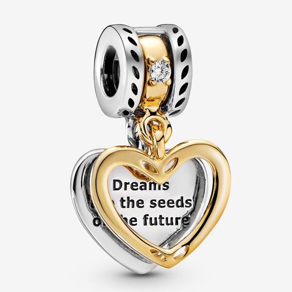 I semi del fascino Future cuore diviso Nuovo Argento 925 perline Solid Rose in forma per i monili di fascino il braccialetto DIY di Pandora donne originali