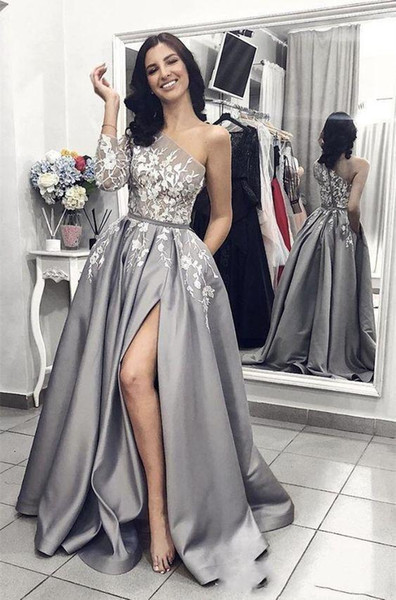 2019 Arabic Silver Gray Prom Dresses One Shoulder Sleeve Sexy Side High Slit Long Evening Gowns Top Lace Applique Cheap Cocktail Party Wear