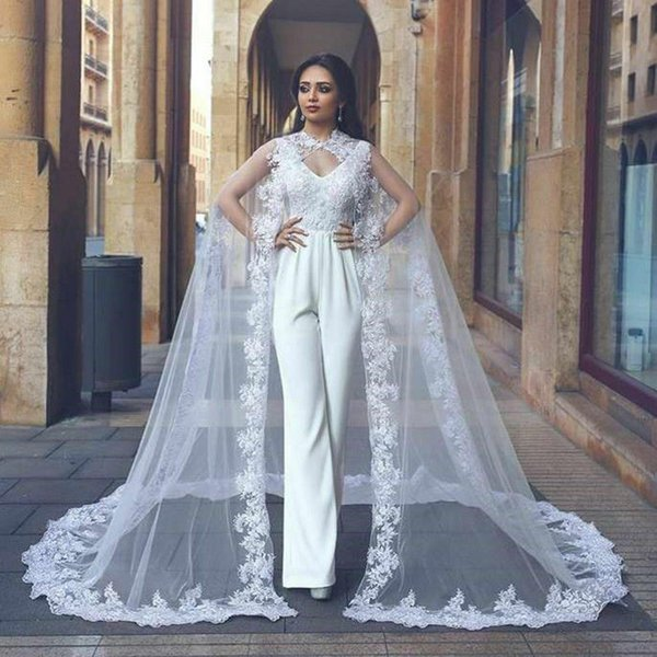 01f4476d77 2019 Vintage Wedding Cape Lace Appliques Edge Bridal Cloak White Ivory  Wraps Jackets Long Shrug Custom