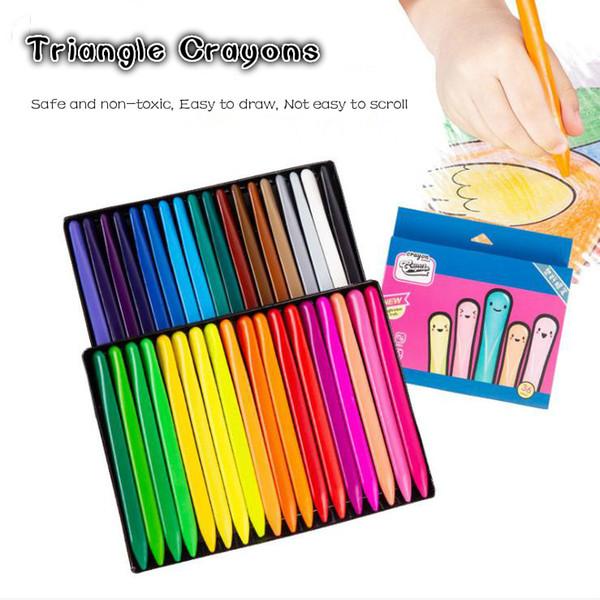 best selling Wholesale 36 color safe non-toxic triangle crayon children plastic crayon student color brush set art supplies