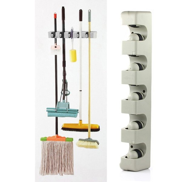 tool tool ABS Kitchen Hanger Wall Mounted 5 Position Kitchen Shelf Storage Shelf for Mop Brush Broom Holder Organizer Wall Mounted Tools