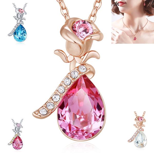 CDE European und American Fashion Rose Halskette mit Kristallen von Swarovski Pendant Clavicle Chain verziert