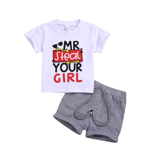 2 unids Toddler Baby Boys Ropa de algodón carta de impresión camiseta + pantalones cortos Pantalones Trajes Cool Boy Set Wholesale Kid niños ropa