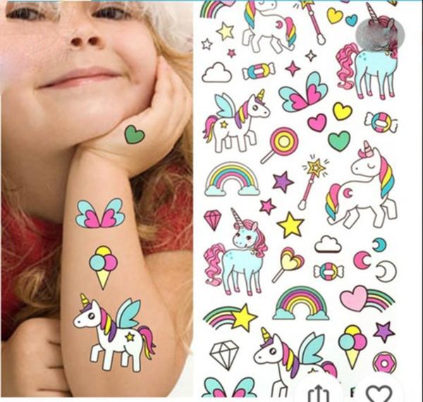 Waterproof temporary fake tattoo stickers pink unicorn horse cartoon design kids child body art make up tools B11