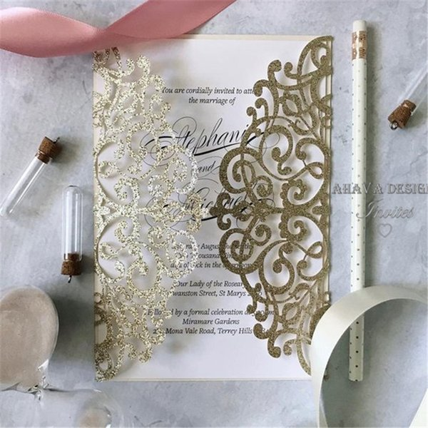 Glitter Laser Cut Invitation for Vintage Wedding - Elegant Invitations for Summer Wedding, Many Colors Are Available