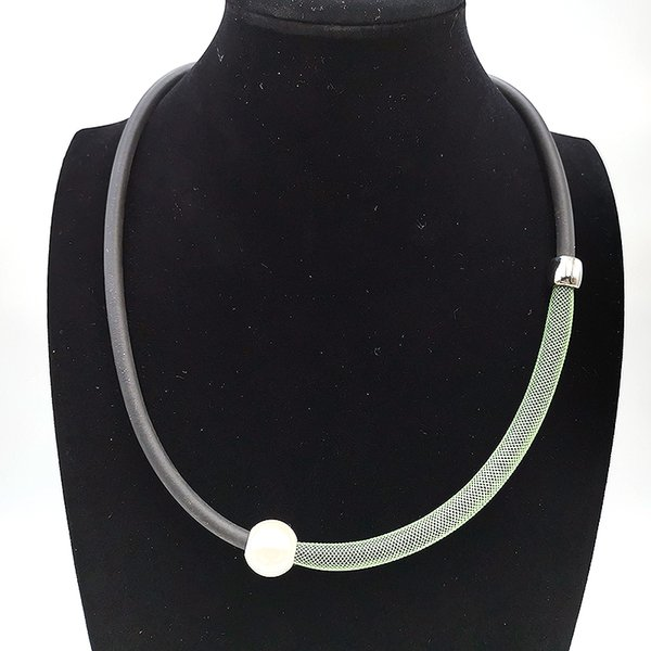 YD&YDBZ 2019 Simple Necklace Clothes Accessory Jewelry Women Fake Pearl Rubber Necklaces Green Lace Pipe Collar Handmade Choker