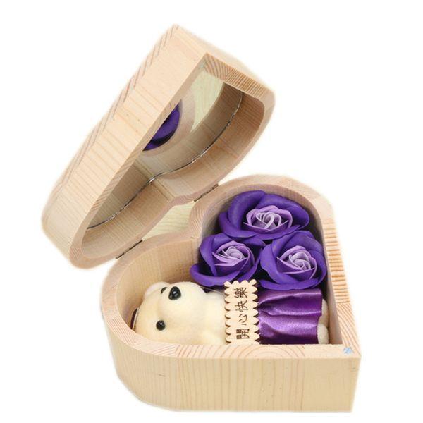 heart-purple rose&bear
