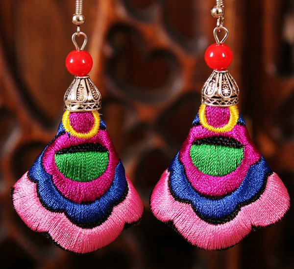 CHINESE FOLK 16pairs/lot Ethnic style cloth earrings wholesale characteristics embroidered Earrings embroidery jewelry