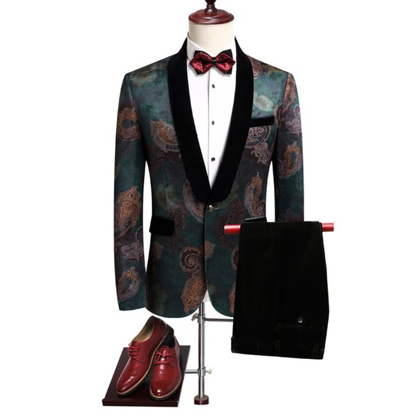 Long Sleeve Men Blazers jacket & Pants Slim Design Men Suit Two Piece Set Asia size mens suits Wedding Banquet