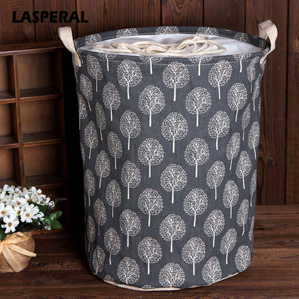 Lasperal 35cmx45cm Folding Drawstring Port Dirty Clothes Basket For Toy Clothing Storage Bucket Laundry Organizer C19041701
