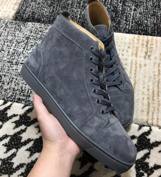 [Original Box] Luxury Designer Men Shoes Red Bottom Sneaker Party Wedding Shoes Brand Love High Cut Suede Spikes Lace-up Casual Shoes