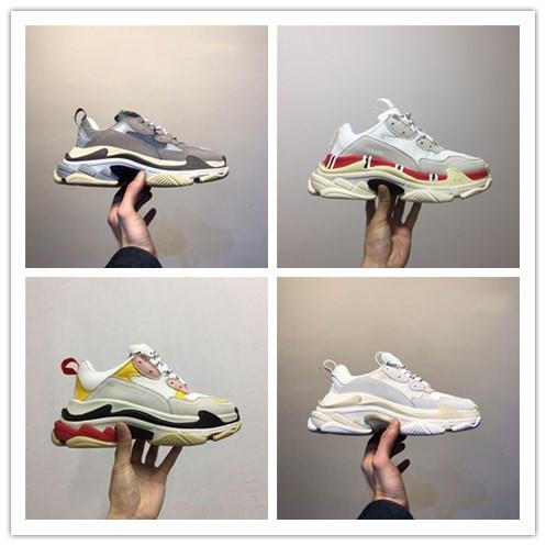 top popular 2019 new Cheap Fashion Paris Fashion 17FW Triple S Sneakers Triple-S Casual Dad Mens Designer Shoes for Women Beige Black Cheap Sports Chaus 2019