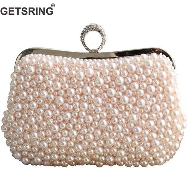 GETSRING Women Bag Womens Pearl Bags Evening Party Bags Clutch For Woman 2019 New Fashion Vintage White Pink Day Clutch