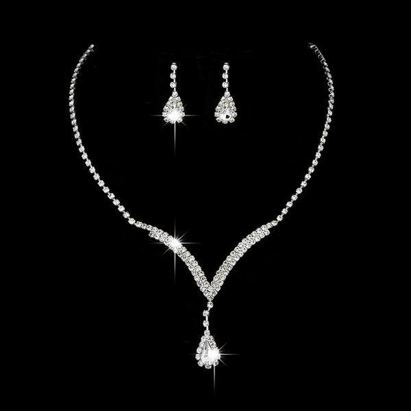 Kostenloser Versand Kristall Brautschmuck Set Wassertropfen Halskette Ohrstecker Hochzeit Schmuck Sets für Braut Brautjungfern Zubehör