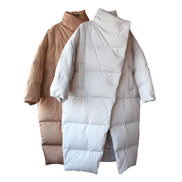 Winter woman park coat 2018 Korean version fashion simple long thick loose high collar jacket female