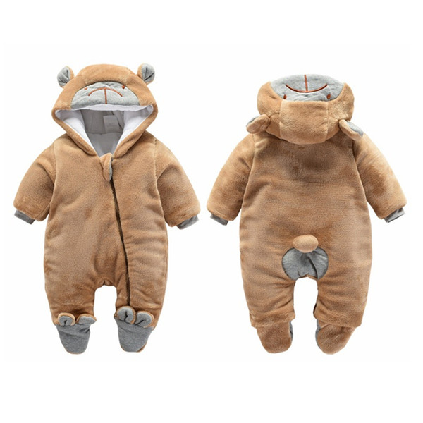good quality baby boys autumn winter rompers cartoon velvet pajamas boy casual warm thicken jumpsuits newborn boys hooded sleepwear