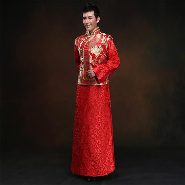Vestidos de noiva vestidos de dragão do dragão chinês e Phoenix casacos tang terno Han Fu chinês tradicional casamento homens roupas